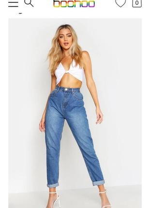 Новые мом джинсы высокая посадка маленький размер boohoo
