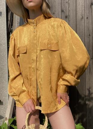 Винтажная блузка золотая с золотыми пуговицами винтаж широкие рукава рубашка