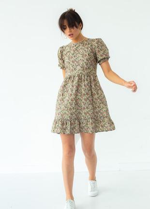 Сукня міні в квітковий принт / платье мини в цветочный принт