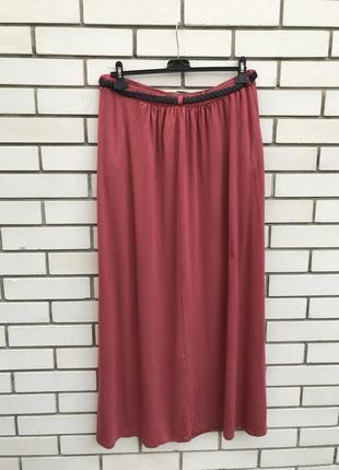 Новая юбка с кожаным пояском,карманы,трикотаж ткань,вискоза,большого размера, new look