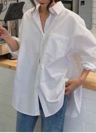 Белая удлиненная рубашка оверсайз