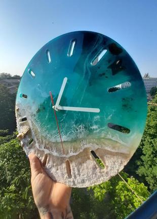 Шикарные морские настенные интерьерные часы годинник море лагуна океан эпоксидная смола