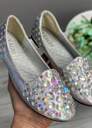 Женские балетки туфли серебристые с пайетками и декором