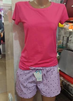 Женский костюм спортивный прогулочный повседневный домашний летний футболка и шорты