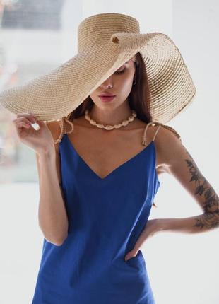 Платье комбинация лен льняное синее миди на бретельках новое