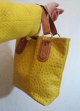 Maurizio taiuti, сумка кожа страуса желтая, made in italy3 фото