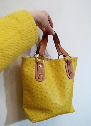 Maurizio taiuti, сумка кожа страуса желтая, made in italy2 фото