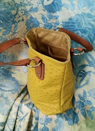 Maurizio taiuti, сумка кожа страуса желтая, made in italy7 фото
