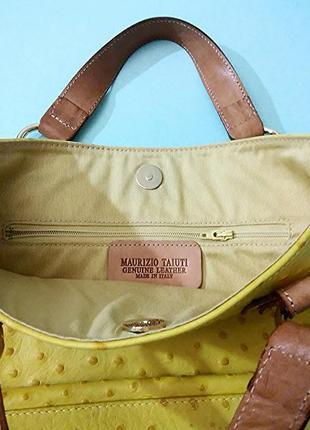 Maurizio taiuti, сумка кожа страуса желтая, made in italy9 фото