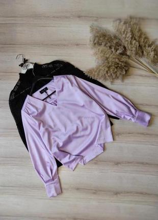 Нежная лиловая блуза с объемным рукавчиком sisters point p m