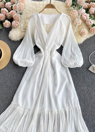 Длинное свадебное платье с рукавами-фонариками, белое платье с оборкой на юбке