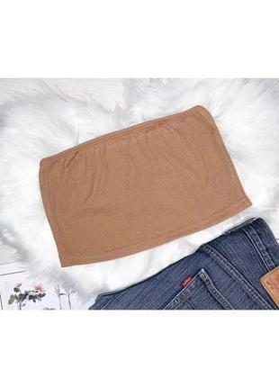 Женский топ бандо из ткани рубчик,цвет орех