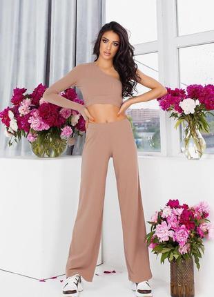 Женский костюм в рубчик  брюки топ 3 цвета 😍5 фото