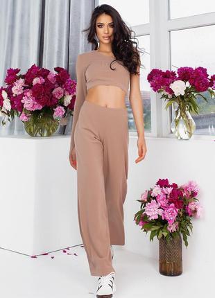 Женский костюм в рубчик  брюки топ 3 цвета 😍6 фото
