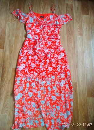 Шикарное шифоновое миди платье сарафан