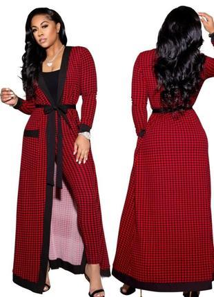 Кардиган длинный кофта платье на запах красный черный интересный