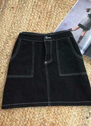 Бомбезна джинсова юбка