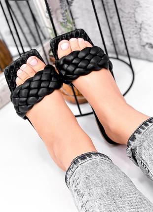 Шикарные женские чёрные  шлёпанцы шлёпки косичка с квадратным носком
