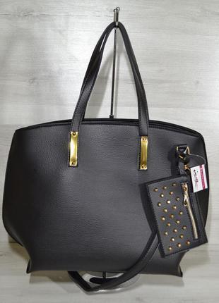 Черная женская сумка шоппер с ручками и ремнем на плечо
