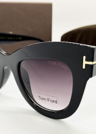 Tom ford очки женские солнцезащитные черные бабочки с массивной оправой