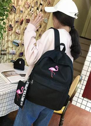 Базовый однотонный чёрный школьный рюкзак портфель сумка а4 с фламинго 2в1