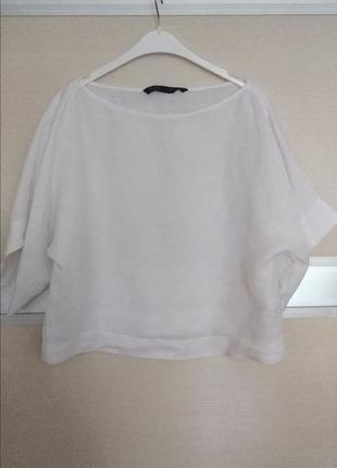 Льная укороченная блуза zara