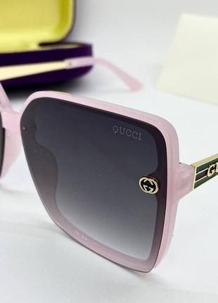 Gucci очки женские солнцезащитные розовые квадраты с градиентом