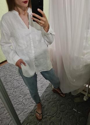 Шикарная белая, біла льняная, льняна рубашка оверсайз от zara