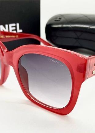 Chanel очки женские солнцезащитные красные глянцевые квадраты