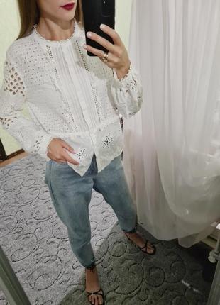 Шикарная белая хлопковая рубашка, сорочка оверсайз прошва от zara