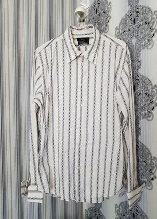 Брендовая топовая базовая котоновая синяя белая рубашка в полоску вышиванка запонки xl8 фото