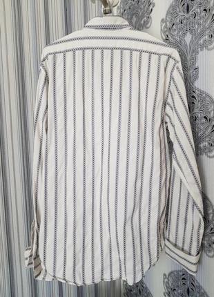 Брендовая топовая базовая котоновая синяя белая рубашка в полоску вышиванка запонки xl9 фото