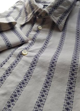 Брендовая топовая базовая котоновая синяя белая рубашка в полоску вышиванка запонки xl1 фото