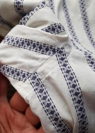 Брендовая топовая базовая котоновая синяя белая рубашка в полоску вышиванка запонки xl5 фото