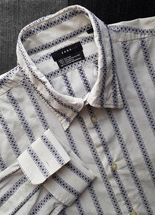 Брендовая топовая базовая котоновая синяя белая рубашка в полоску вышиванка запонки xl3 фото