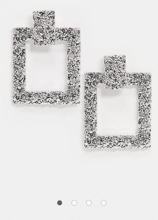 Структурні сережки підвіски, серьги гвоздики, серьги подвески от missguided с сайта asos