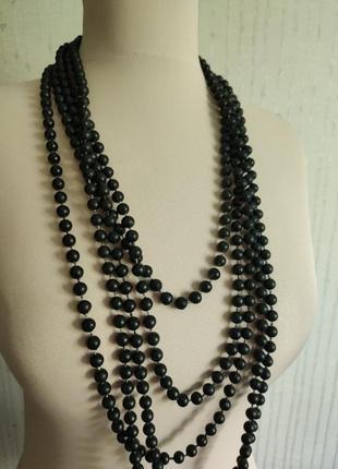 Ожерелье бусы чёрные многослойные