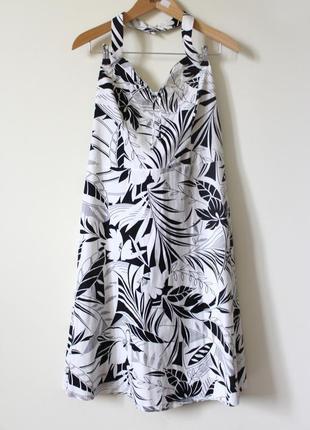 Чёрно-белое летнее платье-сарафан из натурального хлопка marks & spencer (размер 42-44)4 фото