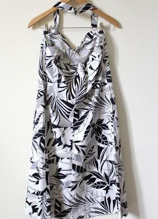 Чёрно-белое летнее платье-сарафан из натурального хлопка marks & spencer (размер 42-44)5 фото