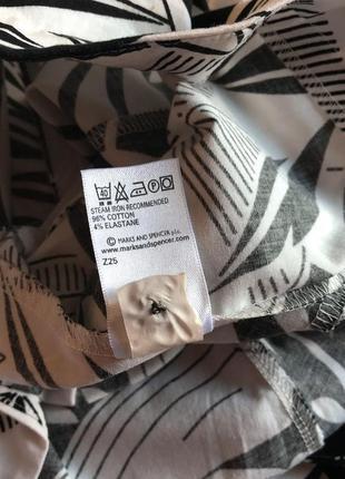 Чёрно-белое летнее платье-сарафан из натурального хлопка marks & spencer (размер 42-44)3 фото