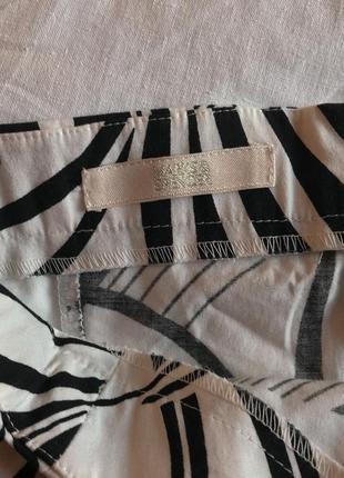 Чёрно-белое летнее платье-сарафан из натурального хлопка marks & spencer (размер 42-44)2 фото