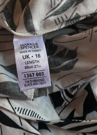 Чёрно-белое летнее платье-сарафан из натурального хлопка marks & spencer (размер 42-44)6 фото
