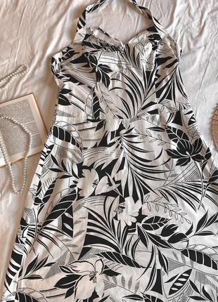 Чёрно-белое летнее платье-сарафан из натурального хлопка marks & spencer (размер 42-44)