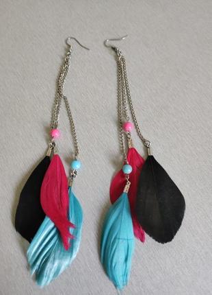 Сережки перья разноцветные