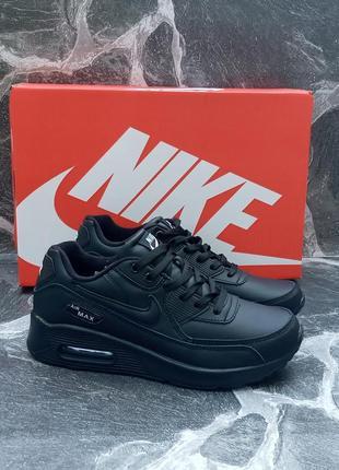 Женские кроссовки nike air max 90 черные, кожаные