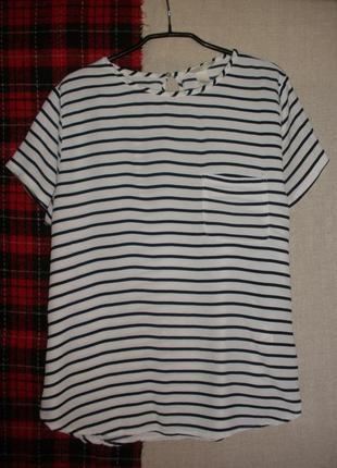 Летний топ блузка блуза в полоску h&m короткий рукав вискоза
