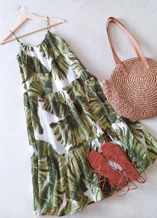 Платье сарафан в тропический принт из последних коллекций h&m