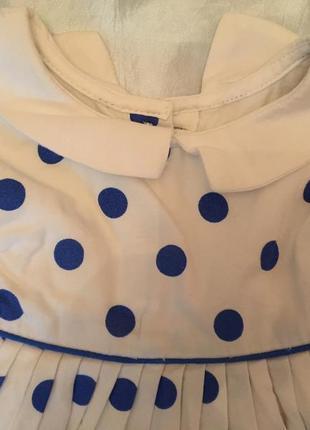 Белое платье в синий горох 6-9 мес, 68-74см