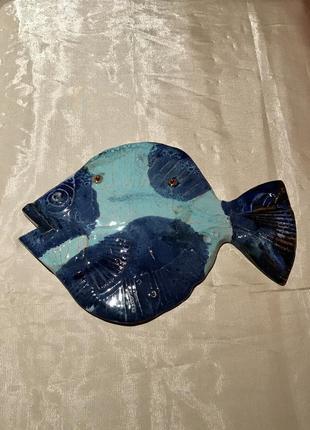 """Настенный декор  """"голубая рыба"""". ручная работа. керамика, греция. vintage 1990"""