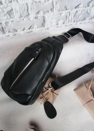Чоловіча шкіряна сумка на плечо бананка чоловіча шкіряна